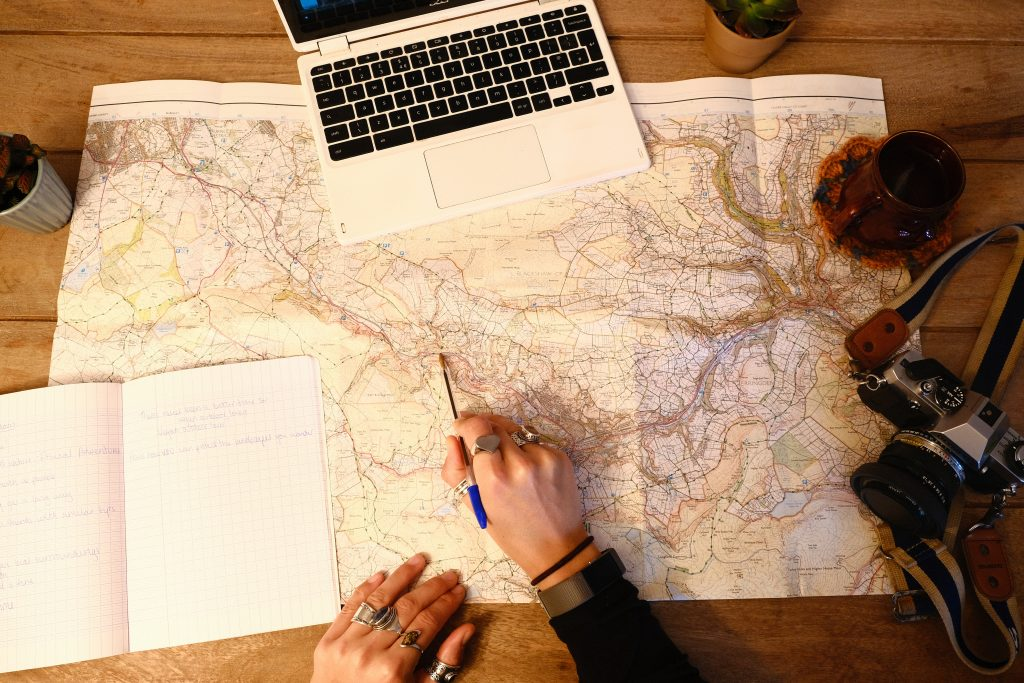 Planning a climbing trip with map