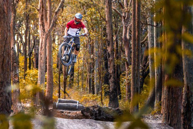 Mountain Biker Jumping through woodland