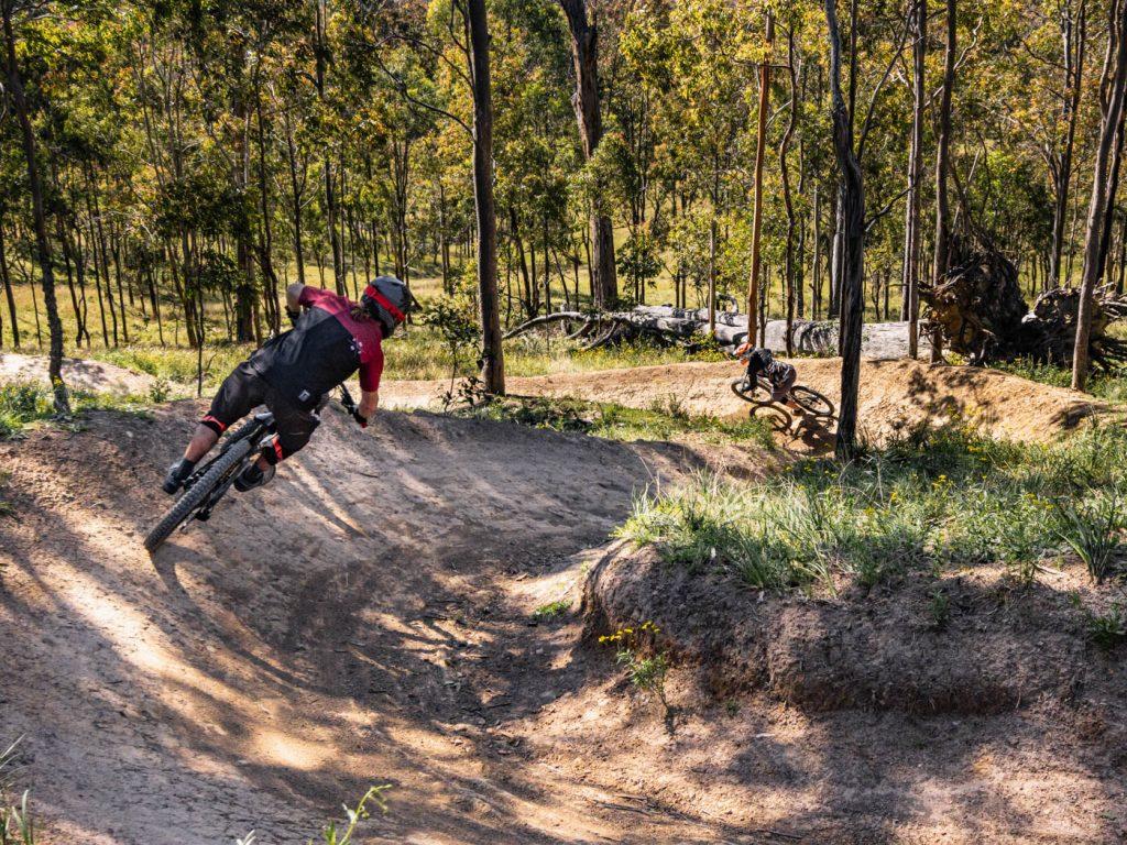 Male mountain biker on dirt track