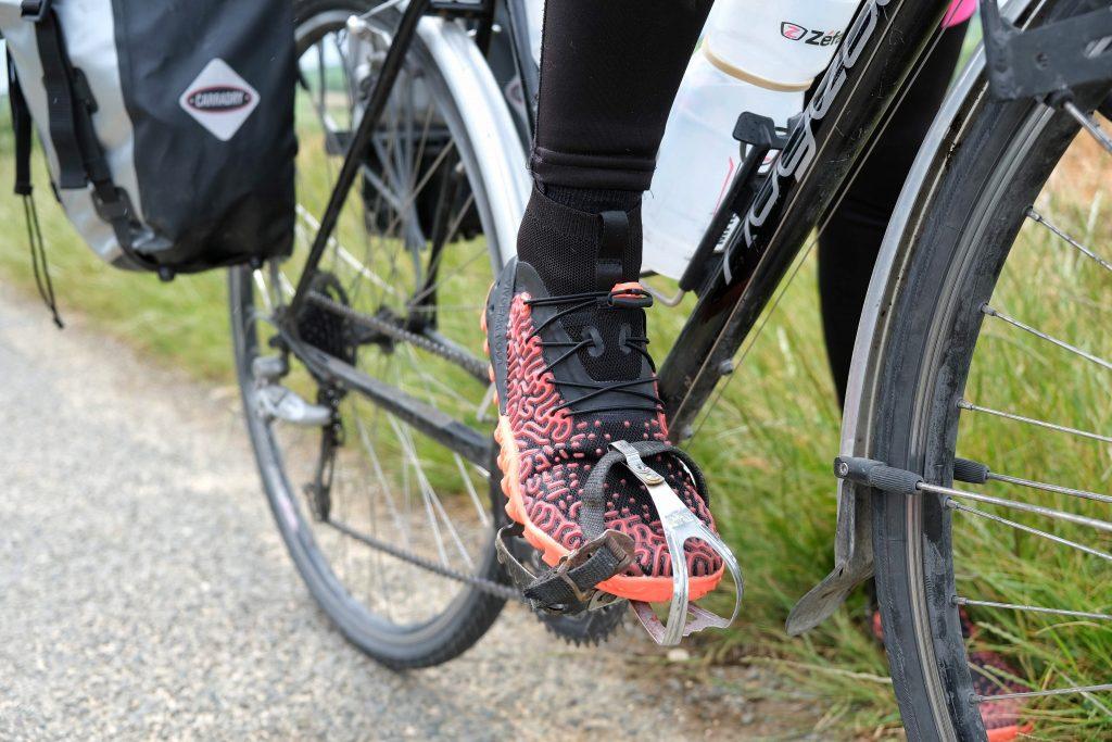 Vegan shoes on bike
