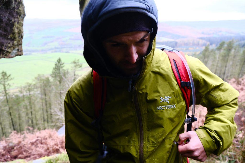 Man in Arcteryx waterproof hiking jacket