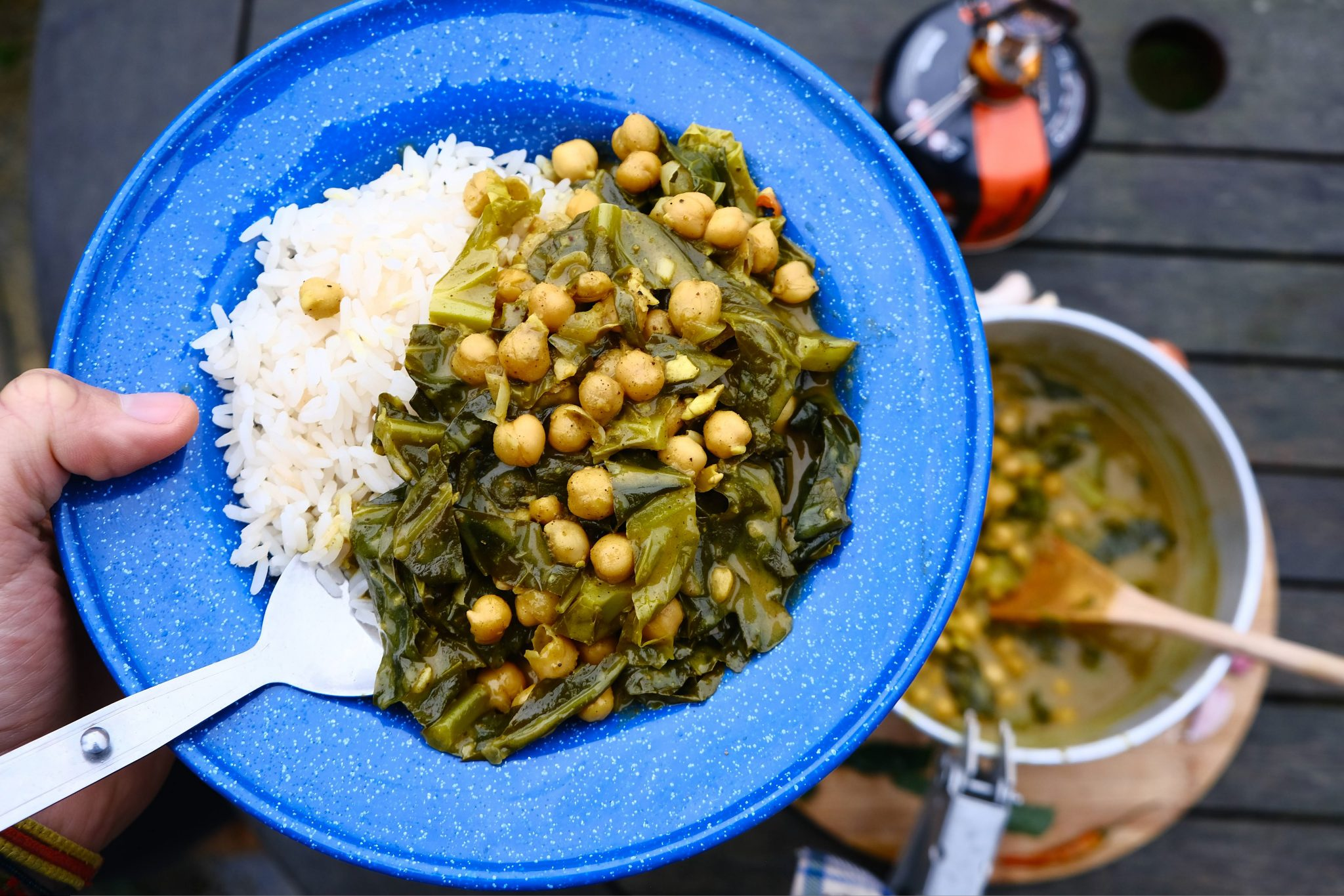 vegan camping recipe with chickpeas