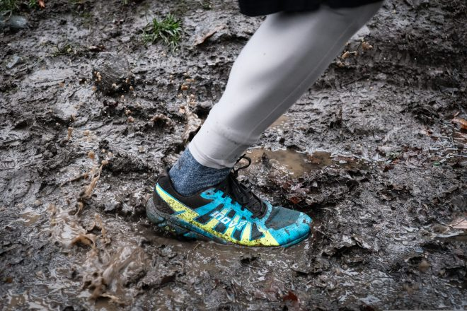 Inov-8 Terraultra G 270 stepping into puddle