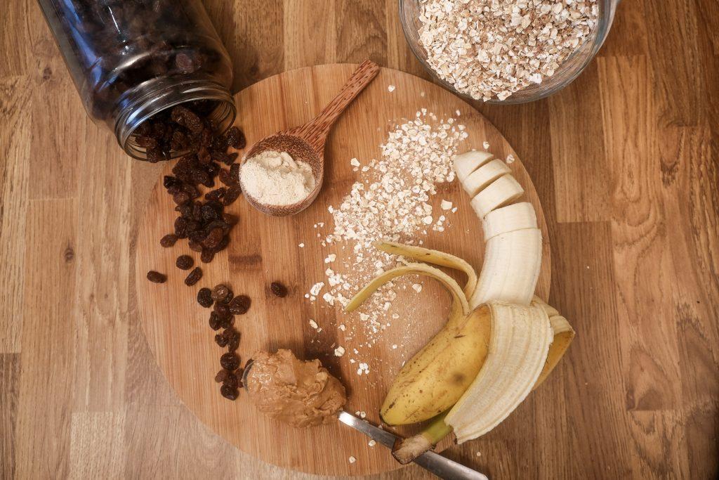 Banana, raisins, peanut butter and vegan protein powder