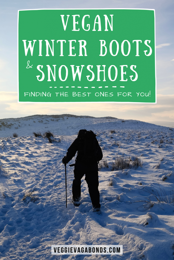 vegan winter boots and snowshoes pin