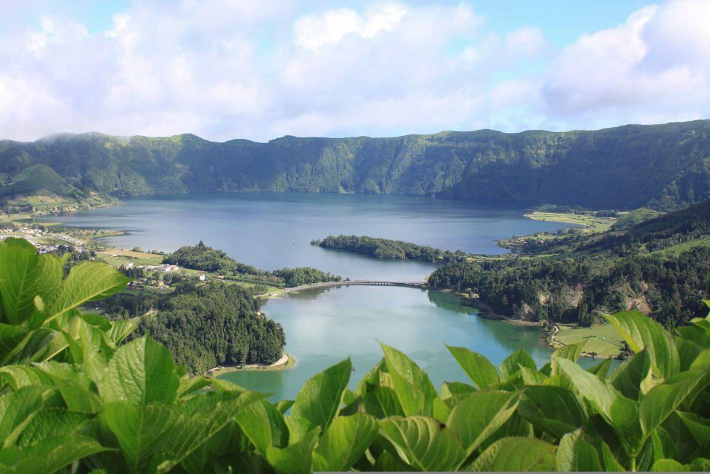 Lagoa Verde and Lagoa Azul on Sete Cididades hike in Sao Miguel