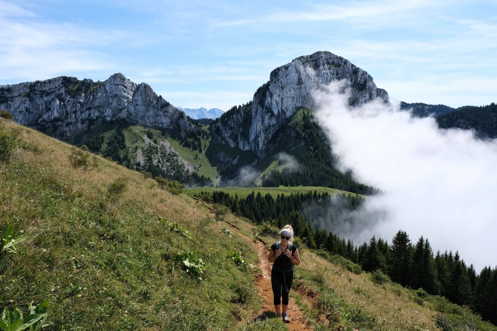 Girl hiking in France, in the French Alps