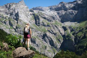 Women on a mountain hiking trail