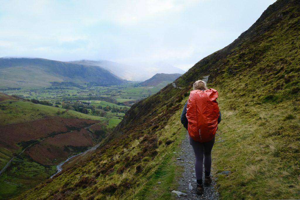Beginner backpacker on UK hiking route