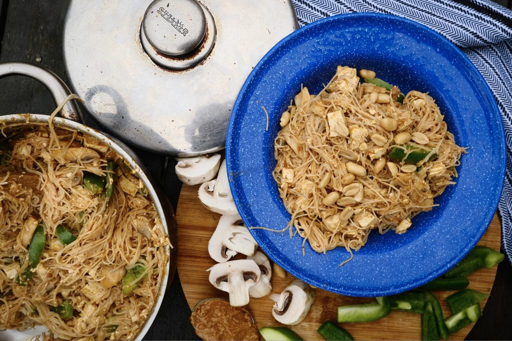 Vegan peanut noodles from the campfire