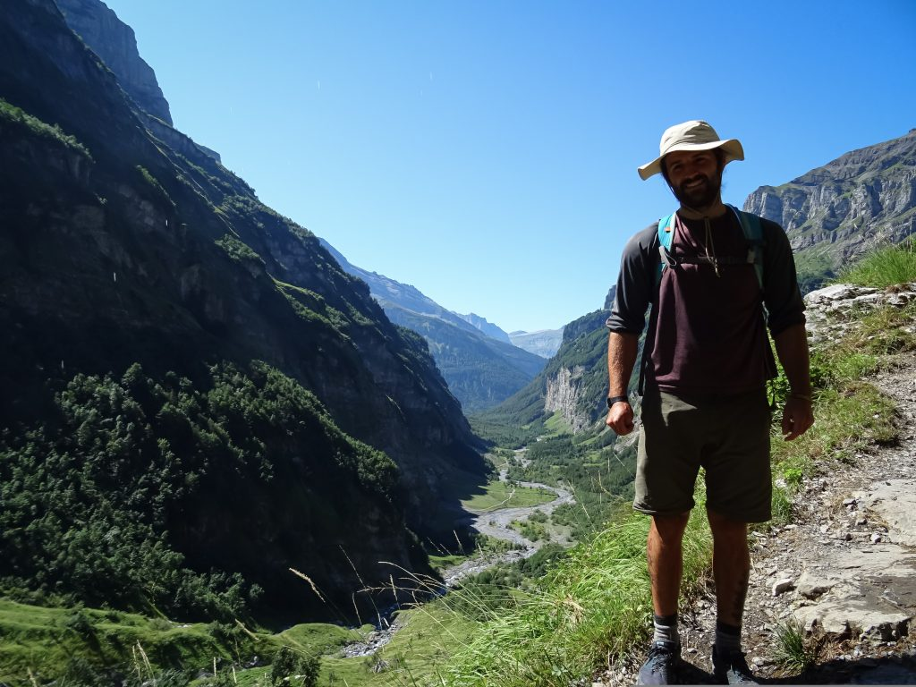 Man on a hiking trail in France