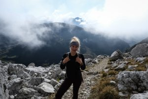 Girl hiking through the French Alps