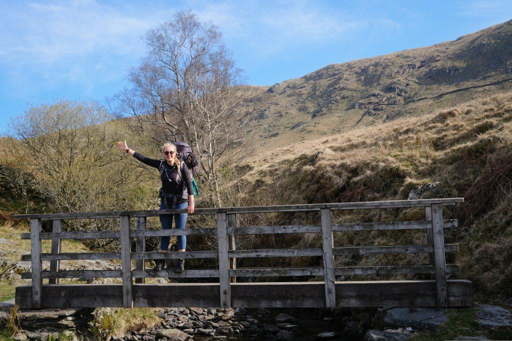 Girl hiking in used hiking gear