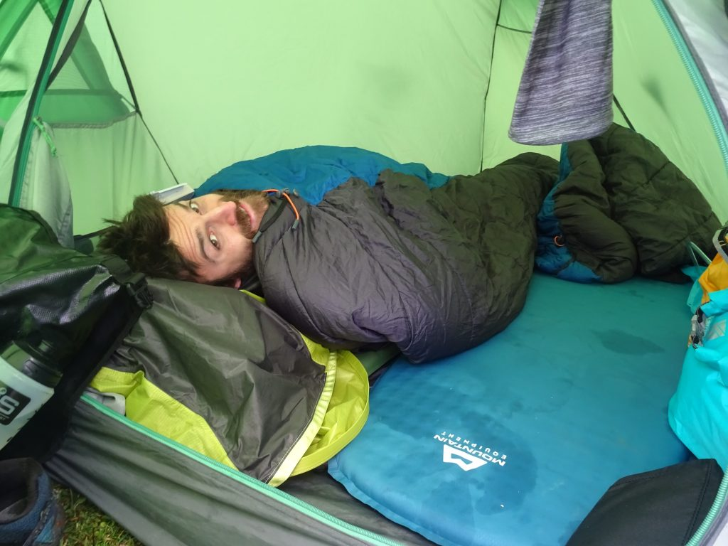 Man sleeping in a tent