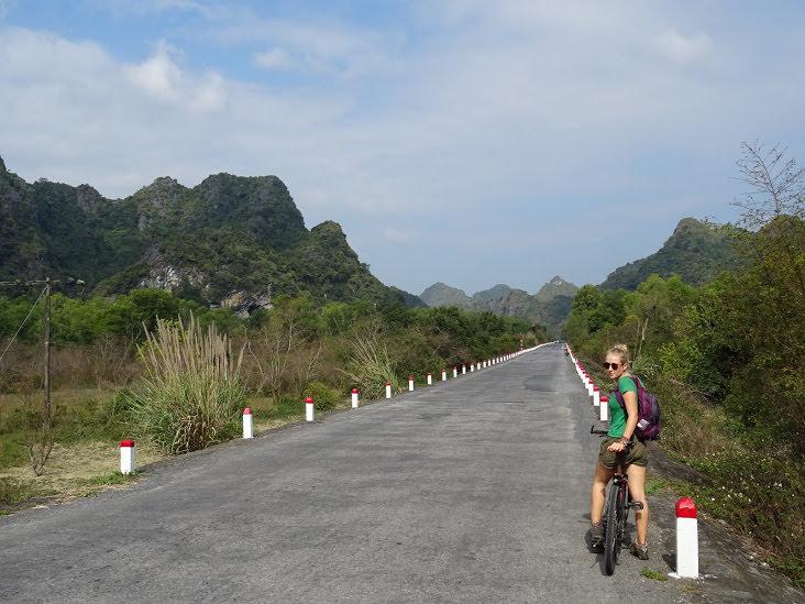 Girl cycling in Vietnam