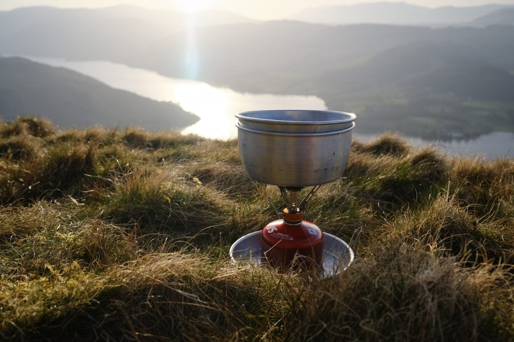 Campstove dinner with sunset