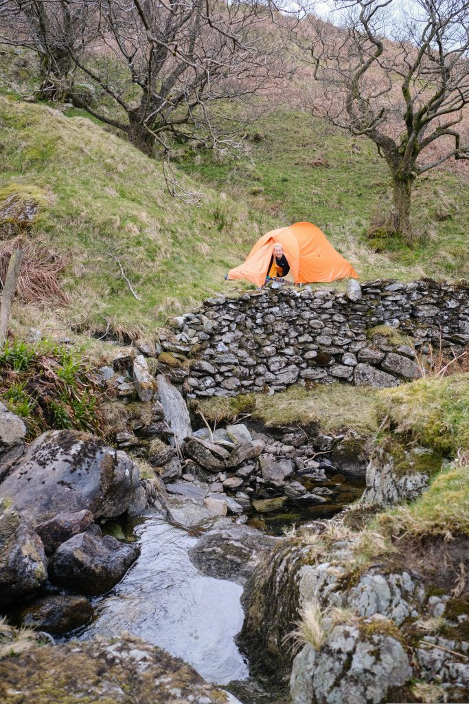 Wild camping by a river