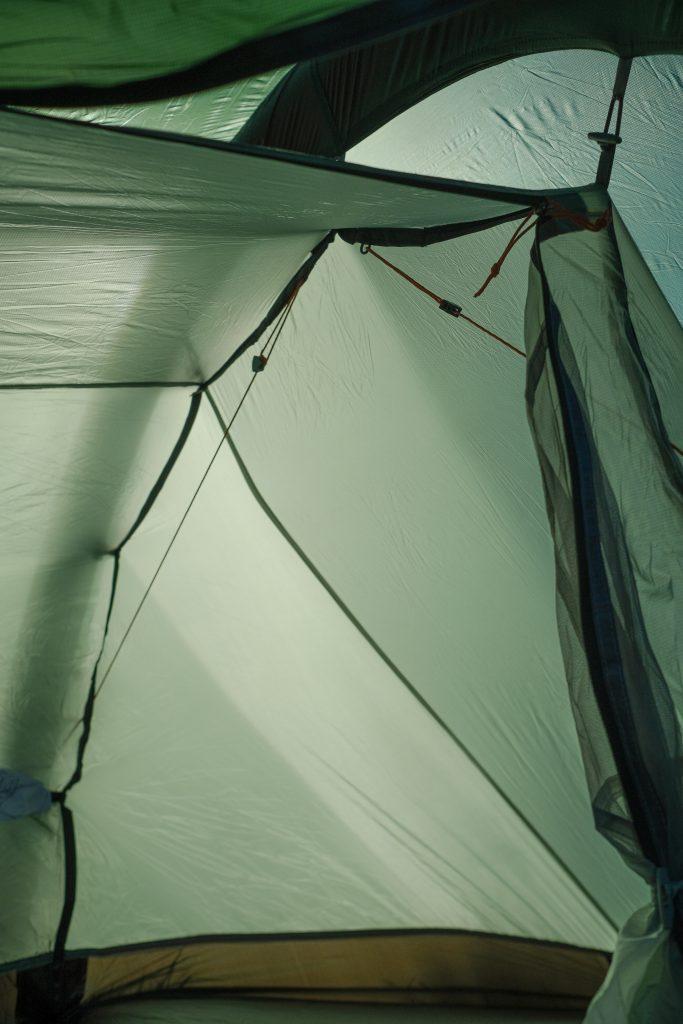 Inside Vango f10 Project Hydrogen - lightweight bikepacking tent