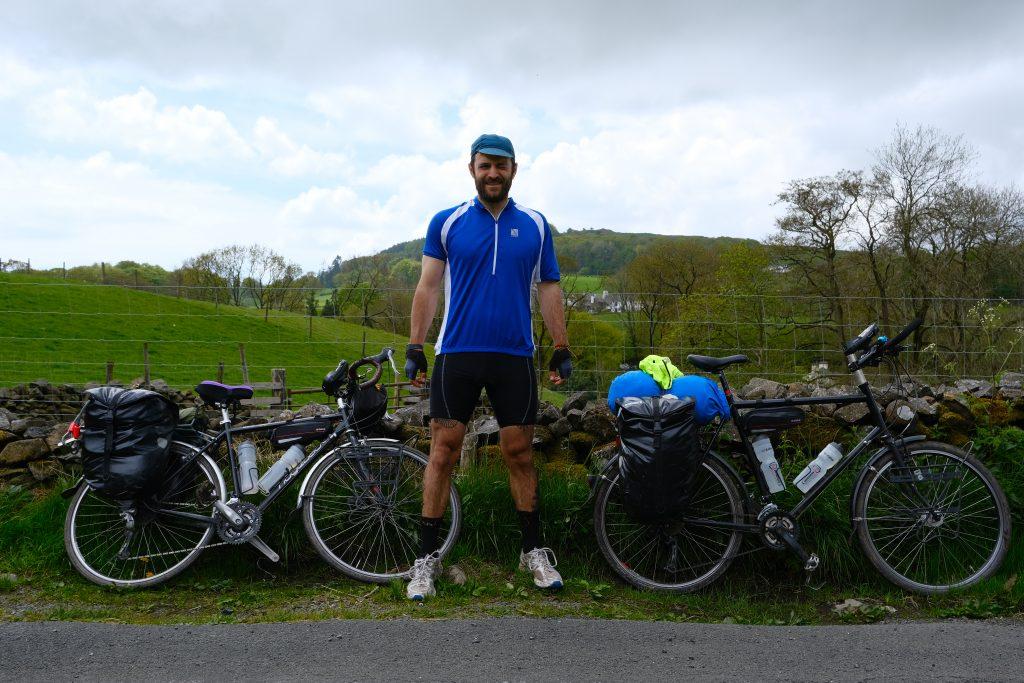Man bike touring