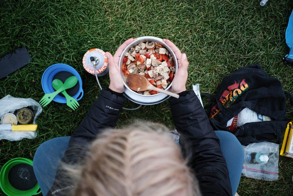 Cooking vegan camping food